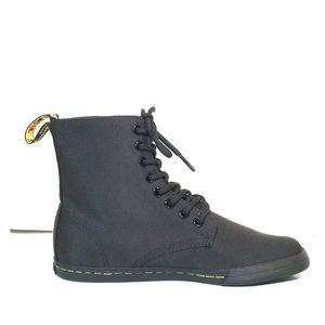 NEW Dr Martens Sheridan Black Canvas 8-Eye Boots